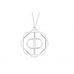18K White Gold Cut-Out Flora Pendant with Mirror Double D and 4 Lab Created Diamonds on AIDIA Extendable Link Chain
