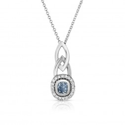 18K White Gold Halo Link Pendant with a 0.40ct Fancy Intense Blue Cushion Cut Lab-Grown