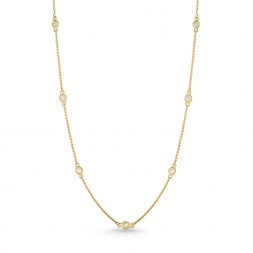 "18"" Yellow Gold Station Necklace with 12 Lab Created Diamonds (0.75ct)"
