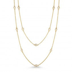 "36"" Yellow Gold Station Necklace with 24 Lab Created Diamonds (1.10ct)"