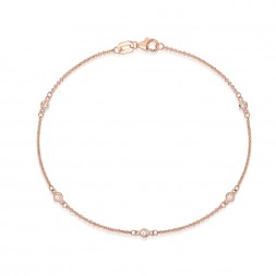 "7.5"" Rose Gold Station Bracelet with 5 Lab Created Diamonds (0.15ct)"