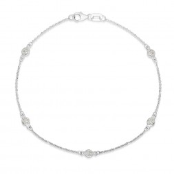 "7.5"" White Gold Station Bracelet with 5 Lab Created Diamonds (0.25ct)"
