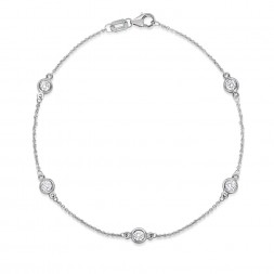 "7.5"" White Gold Station Bracelet with 5 Lab Created Diamonds (0.50ct)"