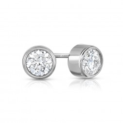 14K White Gold Round Bezel Lab Created Diamond Studs (0.50ct)