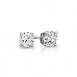 14K White Gold Round Lab Created Diamond Studs (0.50ct)