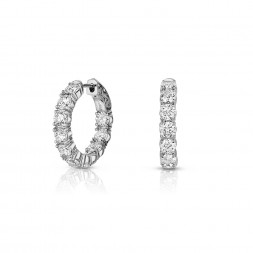 14K White Gold Inside Out, Lab Created Diamond Hoop Earrings (4.00ct) Hoop Size 0.75""