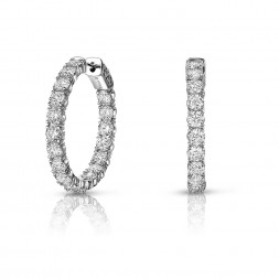 14K White Gold Inside Out, Lab Created Diamond Hoop Earrings (2.70ct) Hoop Size 0.75""