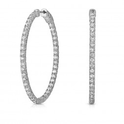 14K White Gold 4 Prong Share Oval Shaped Lab Created Diamond Hoop Earrings (3.50ct)Hoop Earrings (3.50ct) Hoop Size 1.25""