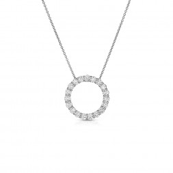 14K White Gold Lab Created Diamond Circle Pendant (1.20ct)