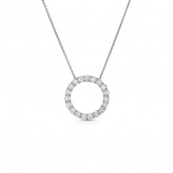 14K White Gold Lab Created Diamond Circle Pendant, on AIDIA Extendable Link Chain (0.50ct)