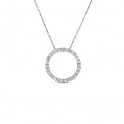 14K White Gold Lab Created Diamond Circle Pendant, on AIDIA Extendable Link Chain (0.75ct)