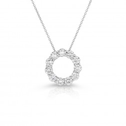 14K White Gold Lab Created Diamond Circle Pendant (2.00ct)