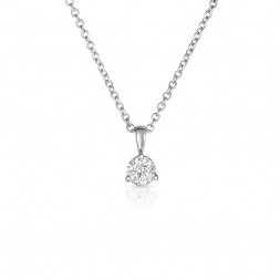 14K White Gold Round Lab Created Diamond Solitaire 3 Prong Pendant, on AIDIA Extendable Link Chain (0.10ct)