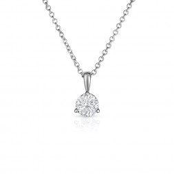 14K White Gold Round Lab Created Diamond Solitaire 3 Prong Pendant (0.35ct)