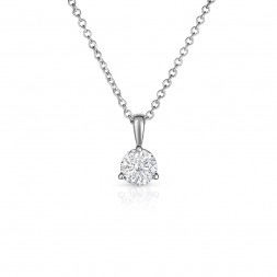 14K White Gold Round Lab Created Diamond Solitaire 3 Prong Pendant, on AIDIA Extendable Link Chain (0.20ct)