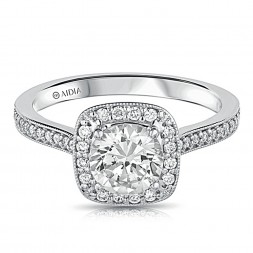 14K White Gold Vintage Milgrain Cushion Halo Lab Created Diamond Engagement Ring