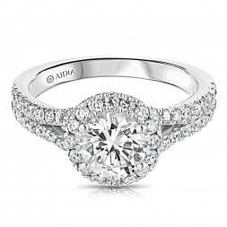 14K White Gold Round Halo Split Shank Lab Created Diamond Engagement Ring