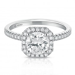 14K White Gold Asscher Halo Lab Created Diamond Engagement Ring