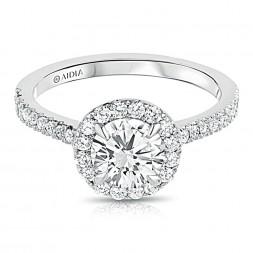 14k White Gold Round Halo Lab Created Diamond Engagement Ring