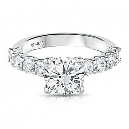 14K White Gold Scalloped Lab Created Diamond Engagement Ring