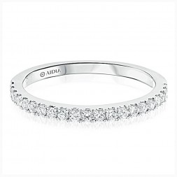 14K White Gold Classic Halfway Lab Created Diamond Wedding Band (0.30ct)