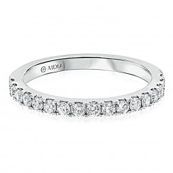 14K White Gold Classic Halfway Lab Created Diamond Wedding Band (0.40ct)