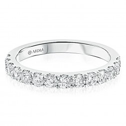 14K White Gold Classic Halfway Lab Created Diamond Wedding Band (0.75ct)