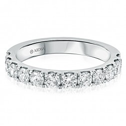 14K White Gold Classic Halfway Lab Created Diamond Wedding Band (1.00ct)