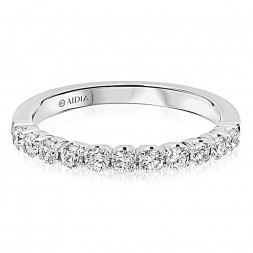 14K White Gold Classic Prong Set Lab Created Diamond Wedding Band (0.50ct)