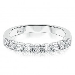 14k White Gold Classic Prong Set Lab Created Diamond Wedding Band (0.60ct)