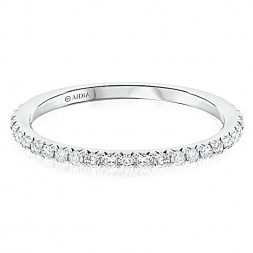 14K White Gold Prong Set Halfway Lab Created Diamond Wedding Band (0.25ct)