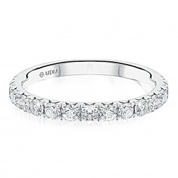 14K White Gold Prong Set Halfway Lab Created Diamond Wedding Band (0.70ct)