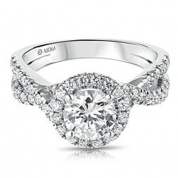 14K White Gold Twist Halo Lab Created Diamond Engagement Ring