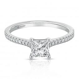 14K White Gold Classic Princess Cut Lab Created Diamond Engagement Ring