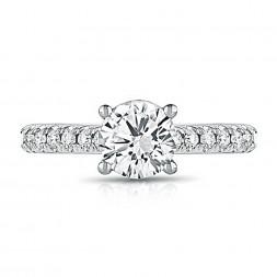 14K White Gold Classic Round Lab Created Diamond Engagement Ring