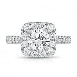 14K White Gold Cushion Halo Lab Created Diamond Engagement Ring