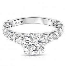 14K White Gold Classic Scalloped Lab Created Diamond Engagement Ring