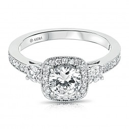 14K White Gold Three Stone Milgrain Cushion Halo Lab Created Diamond Engagement Ring
