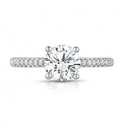 14K White Gold Classic Lab Created Diamond Engagement Ring