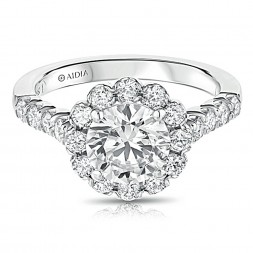14K White Gold Scalloped Round Halo Lab Created Diamond Engagement Ring