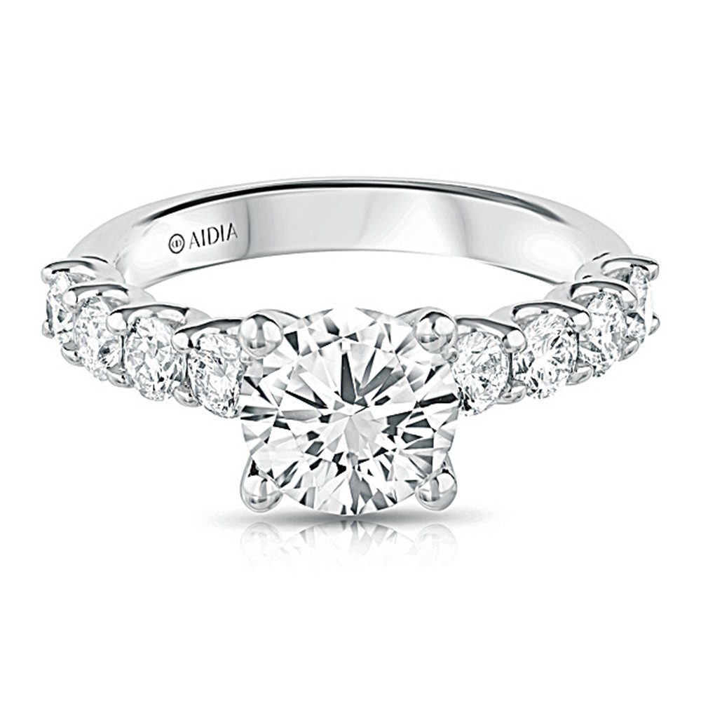 14K White Gold Scalloped Lab Created Diamond Engagement Ring