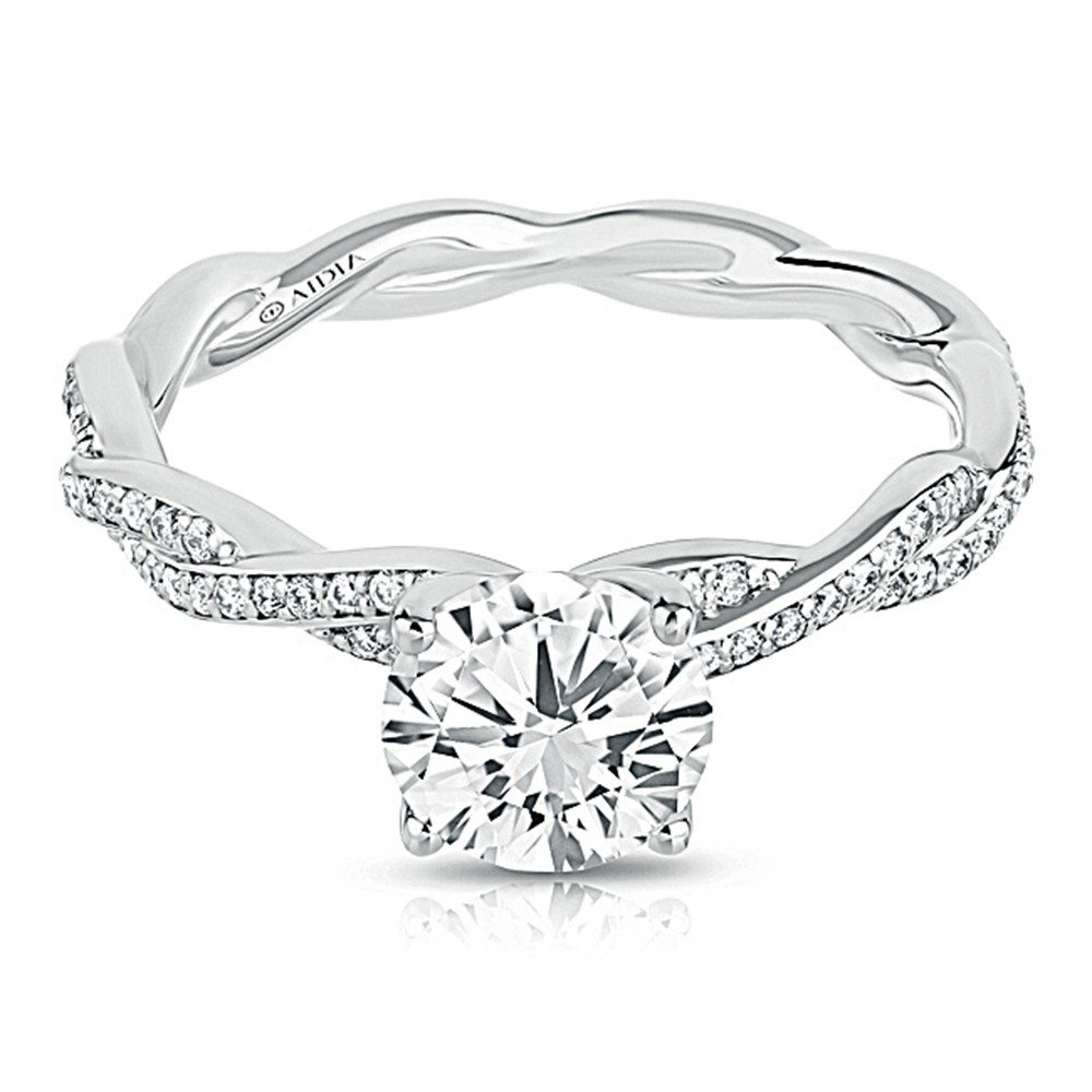 14K White Gold Mini Twist Pave Lab Created Diamond Engagement Ring